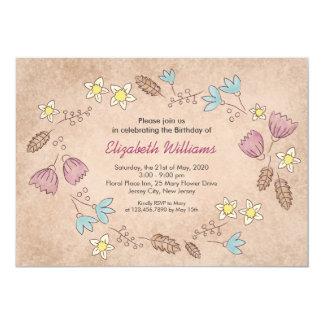 Invitación floral rústica del cumpleaños de la