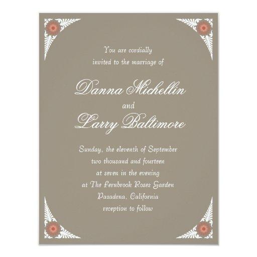 Invitación floral simple del boda de la frontera