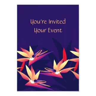 Invitación floral tropical de la ave del paraíso