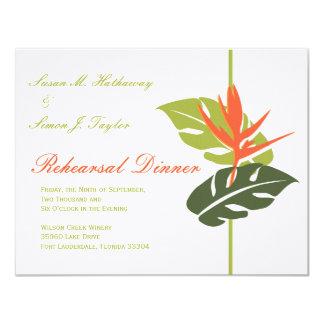 Invitación floral tropical de la cena del ensayo
