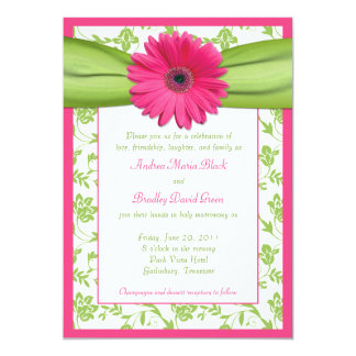 Invitación floral verde rosada del boda del