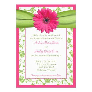 Invitación floral verde rosada del boda del damasc