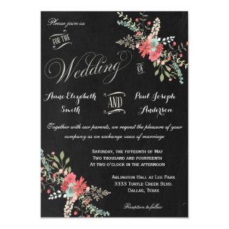 Invitación floral y de la pizarra del boda