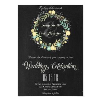 Invitación floral y de la pizarra VI del boda