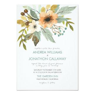 Invitación floreciente del boda de la acuarela
