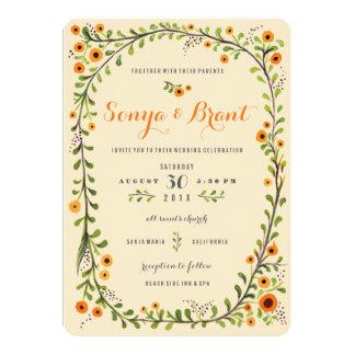 Invitación floreciente púrpura amarilla del boda