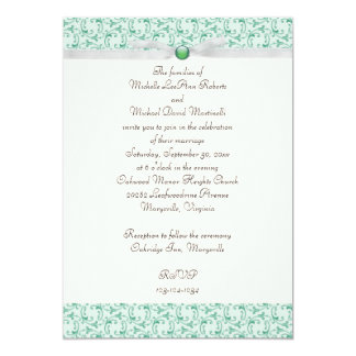 Invitación florentina del boda de la verde menta