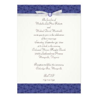 Invitación florentina del boda del azul real