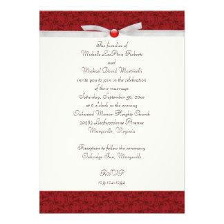 Invitación florentina roja antigua del boda