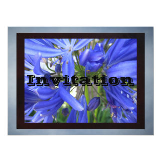 Invitación - flores azules invitación 16,5 x 22,2 cm
