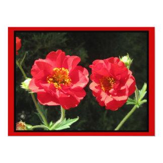 Invitación - flores rojas - tarjeta multiusos