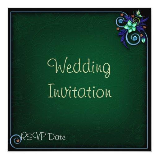 Invitación florida verde del boda