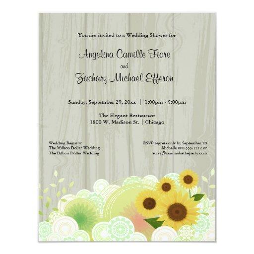 Invitación formal de la ducha del girasol amarillo
