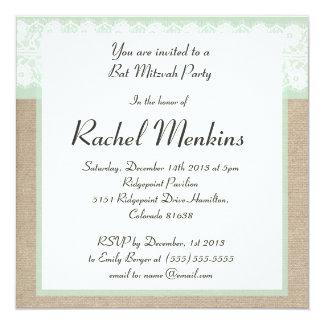 Invitación formal de Mitzvah del palo del cordón Invitación 13,3 Cm X 13,3cm