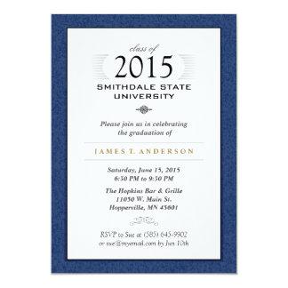 Invitación formal del azul marino y blanca de la invitación 12,7 x 17,8 cm