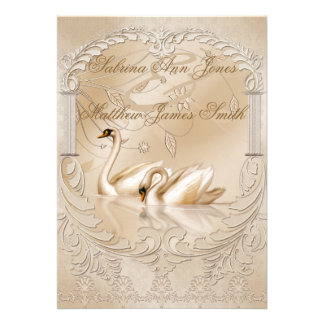 Invitación formal del boda de los cisnes de oro el