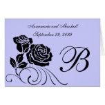 Invitación formal del boda de los rosas negros y a tarjetón