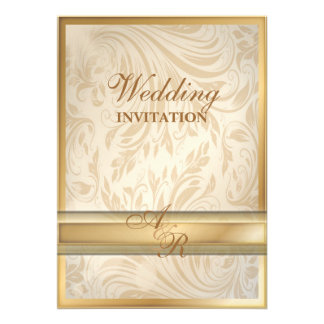 Invitación formal del boda del damasco del oro del