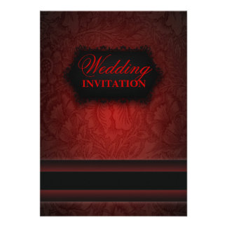 Invitación formal del boda del damasco rojo negro