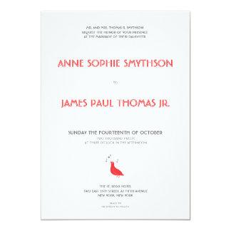 Invitación formal del boda del pájaro cantante