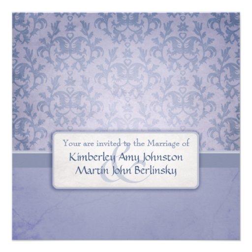 Invitación formal del cuadrado del boda del damasc