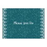 Invitación formal del damasco azul del trullo invitación 12,7 x 17,8 cm