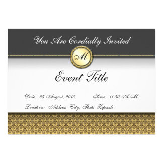 Invitación formal del monograma de encargo de lujo