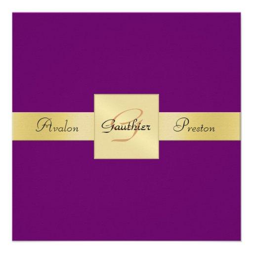 Invitación formal del oro del ciruelo del monogram