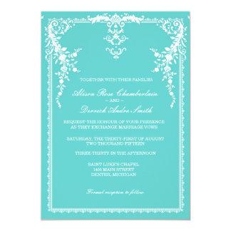 Invitación formal elegante del boda, azul tiffany