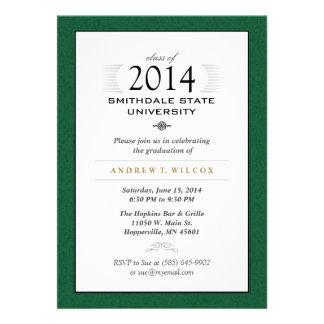 Invitación formal verde y blanca de la graduación