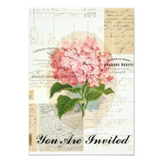 Invitación francesa de las Ephemeras del Hydrangea Invitación 12,7 X 17,8 Cm