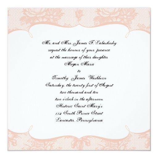 Invitación francesa del boda del fondo del cordón