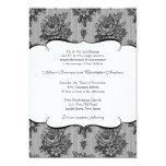 Invitación francesa negra del boda del cordón invitación 12,7 x 17,8 cm