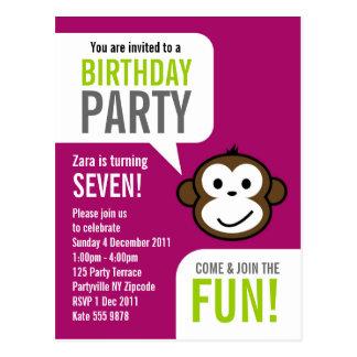 Invitación fresca 2 [púrpura] del mono postal