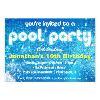 Invitación fresca de la fiesta en la piscina