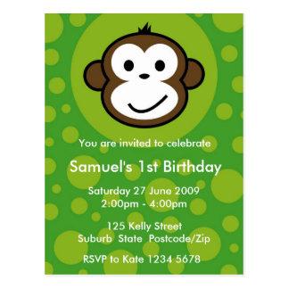 Invitación fresca del mono [cal] postal
