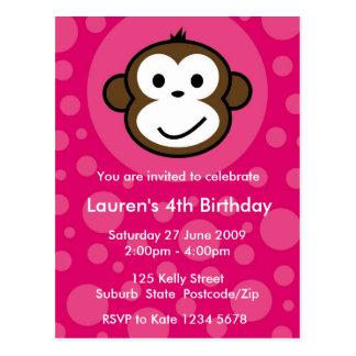 Invitación fresca del mono [rosa] postal