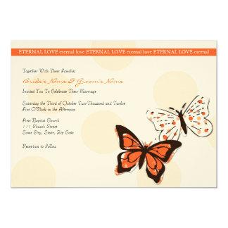 Invitación fresca del naranja y blanca de la