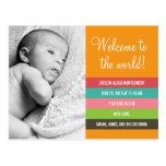 Invitación fresca y colorida del nacimiento - niña postales