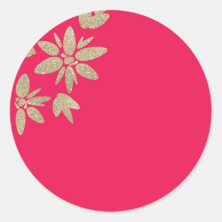 Invitación fucsia rosada con las flores de la pegatina redonda