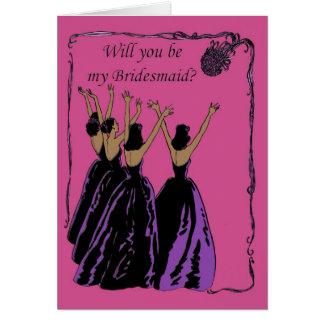 invitación fucsia y púrpura de la dama de honor felicitación