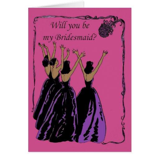 invitación fucsia y púrpura de la dama de honor tarjeta de felicitación