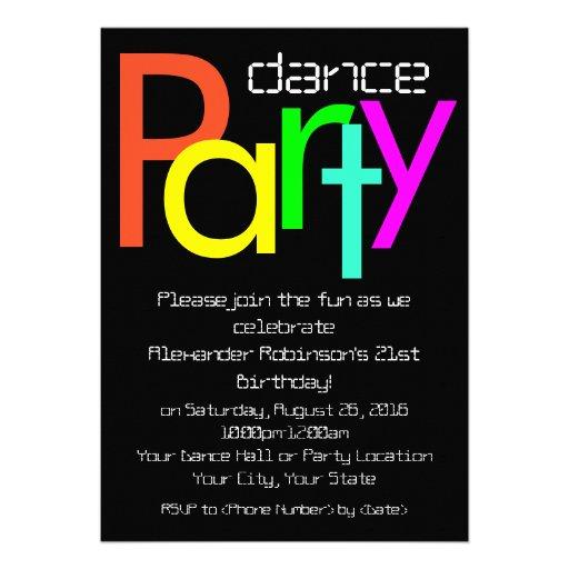 Invitación futurista del baile de la diversión 5x7