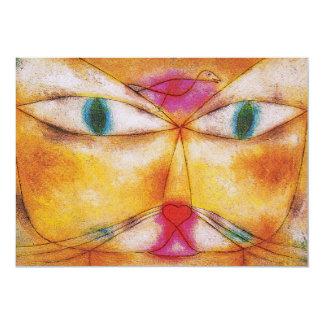 """Invitación: Gato y pájaro de Paul Klee - Invitación 5"""" X 7"""""""
