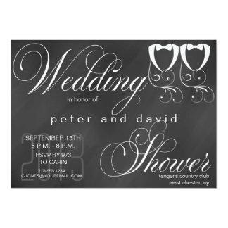Invitación gay de la ducha del boda de la pizarra invitación 11,4 x 15,8 cm