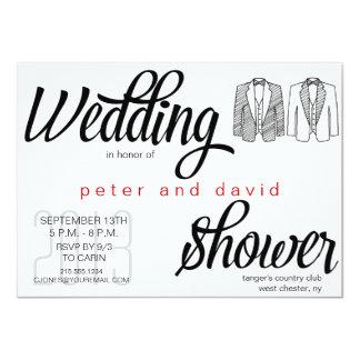 Invitación gay de la ducha del boda del lazo negro invitación 11,4 x 15,8 cm