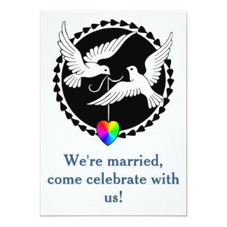 Invitación gay de la recepción de la paloma del