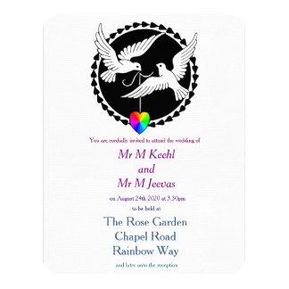 Invitación gay del boda de las palomas del amor