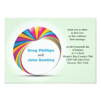 Invitación gay del boda del dúo del arco iris
