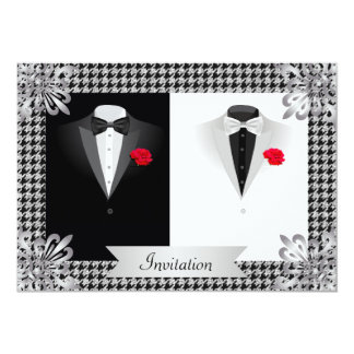 Invitación gay elegante del boda con dos smokinges